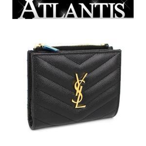 SALE 未使用 サンローランパリ SAINT LAURENT PARIS  コンパクト ウォレット二つ折り 財布 レザー 黒|atlantis