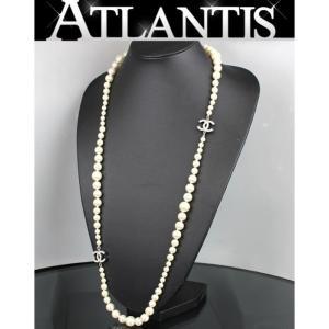 美品 シャネル CHANEL ココマーク ロング パール ネックレス ココマーク A13V|atlantis