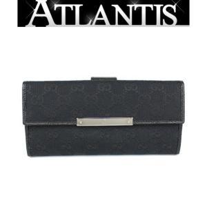 極美品 グッチ GUCCI Wホック 長財布 GGキャンバス 黒 112715|atlantis