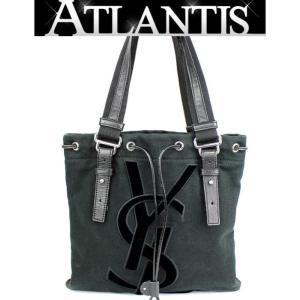 イヴ・サンローラン YVES SAINT LAURENT カハラ トート バッグ キャンバス 黒|atlantis