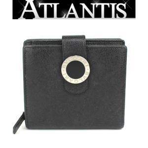 ブルガリ BVLGARI 二つ折り コンパクトジップ 財布 レザー 黒|atlantis
