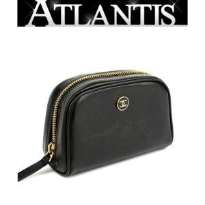 シャネル CHANEL ポーチ 小物入れ ココボタン レザー 黒|atlantis