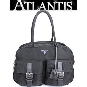 プラダ PRADA ハンドバッグ ミニ ボストン バッグ ナイロン レザー 黒|atlantis