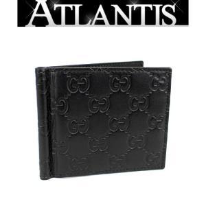 極美品 グッチ GUCCI マネークリップ 二つ折り 財布 グッチシマ 黒 170580|atlantis