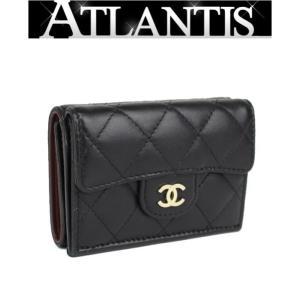 美品 シャネル CHANEL マトラッセ コンパクト ウォレット 三つ折り 財布 ラム 黒|atlantis