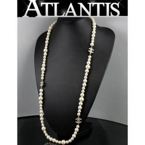 美品 シャネル CHANEL ココマーク ロング パールネックレス ラインストーン 10A|atlantis