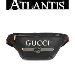 極美品 大人気 グッチ GUCCI ベルトバッグ ウエストバッグ メンズ グッチプリント 黒 530412|atlantis