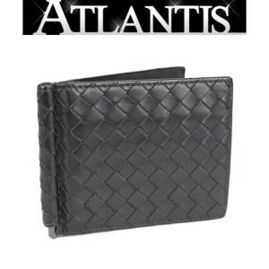 ボッテガ・ヴェネタ BOTTEGA VENETA マネークリップ付き 二つ折り 財布 イントレ 黒 atlantis