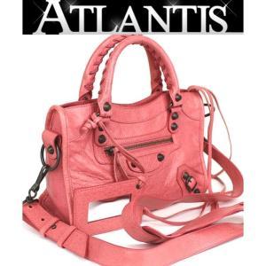 極美品 バレンシアガ BALENCIAGA クラシック ミニ シティ 2WAY バッグ レザー ピンク 300295|atlantis