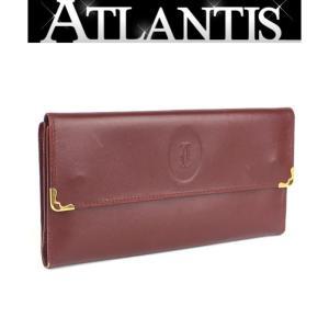 美品 カルティエ Cartier マストライン 長財布 がま口 赤系 ボルドー|atlantis