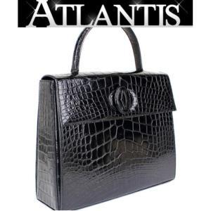 カルティエ Cartier ハンドバッグ クロコ 黒 ブラック|atlantis