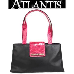 ブルガリ BVLGARI ハンドバッグ クロコ型押し レザー 黒 ピンク|atlantis