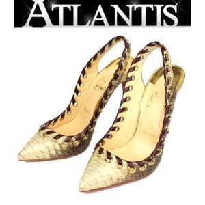 銀座店 在庫処分大SALE クリスチャンルブタン パンプス 靴 パイソン 38 1/2|atlantis