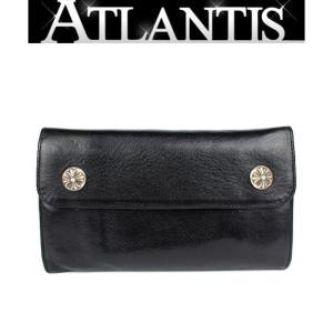 CHROME HEARTS 銀座 クロムハーツ ウェーブウォレット クロスボタン 三つ折長財布 黒|atlantis