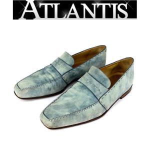 Berluti 銀座店 在庫処分大SALE ベルルッティ スエード ブルー メンズシューズ ローファー 靴 size8|atlantis
