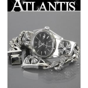 CHROME HEARTS 銀座店 クロムハーツ ロレックス CHX 純正 フル パヴェダイヤ ファンシー ウォッチバンド ブレス デイトジャスト 1601 黒 腕時計|atlantis