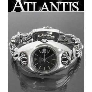 銀座店 クロムハーツ ロレックス ウォッチケース キーパー クラシックチェーン ウォッチブレス 1997刻印 黒文字盤 レディース 腕時計|atlantis