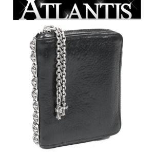 CHROME HEARTS 銀座店 クロムハーツ 3サイドジップ ウォレット ピラミッド スタッズ 二つ折り財布 レザー 黒|atlantis
