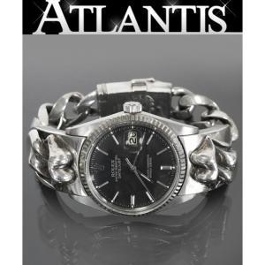 CHROME HEARTS 銀座店 激レア!クロムハーツ ロレックス リップ&タン デイトジャスト ウォッチブレス 黒文字盤 ローリングストーンズ 腕時計|atlantis