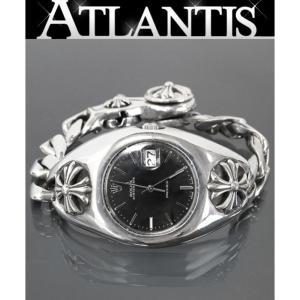 CHROME HEARTS 銀座店 激レア クロムハーツ ロレックス 初期型 ウォッチケース オールド CHプラス 明細付き 6694 オイスター デイト 黒 ウォッチブレス  腕時計|atlantis
