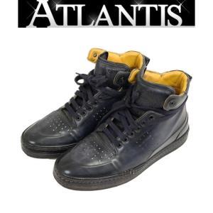 Berluti 銀座店 ベルルッティ プレイタイム PLAYTIME ハイカット レザー スニーカー カリグラフィ メンズ 靴  ネイビー系 size7|atlantis