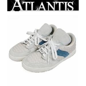 BOTTEGA VENETA 銀座店 ボッテガヴェネタ イントレチャート スニーカー 靴 メンズ レザー シューズ 白 × ブルー atlantis