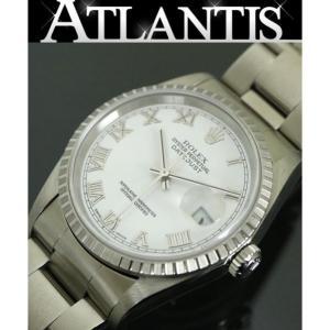 ROLEX 銀座店 ロレックス 16220 デイトジャスト K番 ローマ メンズ 腕時計 白文字盤 atlantis