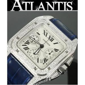 Cartier 銀座店 カルティエ サントス100XL クロノグラフ アフターダイヤ メンズ 腕時計 atlantis