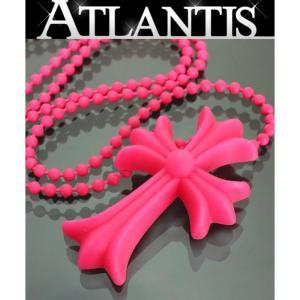 CHROME HEARTS 銀座店 新品 クロムハーツ FNO 限定 スモール CHクロス ネックレス ネオンカラー ピンク ボールチェーン|atlantis