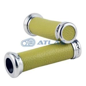 NCY 汎用レトロレザー グリップセット グリーン 22.2ミリ(7/8in)ハンドル用|atlas-parts