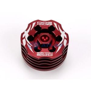 メール便対応可 DOG HOUSE 鍛造CNC 冷却フィン付 オイルストレーナーキャップ(オイルドレインプラグ) レッド YAMAHA(ヤマハ)車用、シグナスX,BW|atlas-parts
