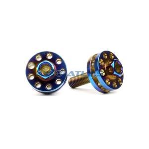 メール便対応可 ☆Star Bolt CNC加工 ヘキサゴンヘッド SUS PVDチタンコート ツインビッグヘッドボルト M6×20mm P1.0 焼き色ブルー仕上げ|atlas-parts