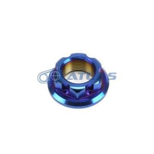メール便対応可 ☆Star Bolt CNC加工 SUS ステンレス PVDチタンコートクラッチハウジング用 フランジナット M14 P1.0 焼き色ブルー仕上げ|atlas-parts