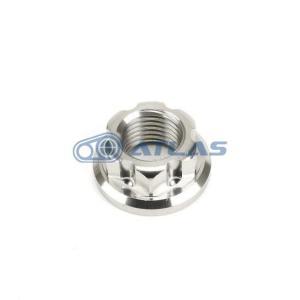 メール便対応可 ☆Star Bolt CNC加工 SUS ステンレス リアホイールアクスル用 フランジナット M14 P1.5 シグナスX,GTR125,BW`S125等に|atlas-parts