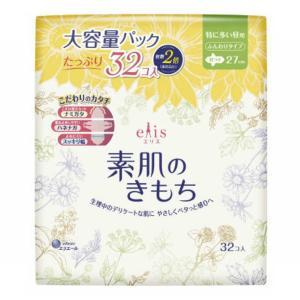 大王製紙 エリス 素肌のきもち 特に多い昼用 羽つき 32枚入 生理用ナプキン|atlife-shop