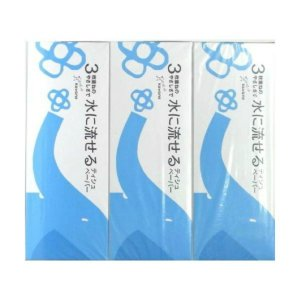 河野製紙 水に流せる 3枚重ね ティシュ 3箱パック (ティッシュペーパー)(4901451163121)|atlife-shop