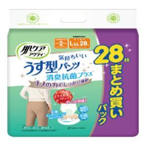 【送料無料・まとめ買い×2個セット】日本製紙 クレシア 肌ケア アクティ うす型 パンツ 消臭 抗菌プラス L-LL 28枚|atlife-shop