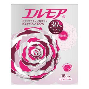 【送料無料・まとめ買い×4個セット】カミ商事 エルモア トイレットペーパー 花の香り ダブル 2枚重ね ピンク 30M × 18ロール|atlife-shop