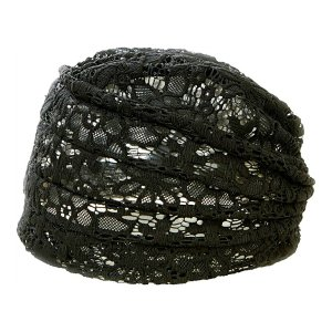 【メール便送料無料】 コジット ボリュームレースヘアキャップすべりどめ付 ブラック  1個入 atlife-shop