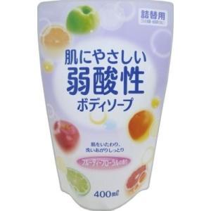 ロケット石鹸 弱酸性ボディソープ フルーティーフローラルの香り 詰め替え 400ml(4571113800888)|atlife
