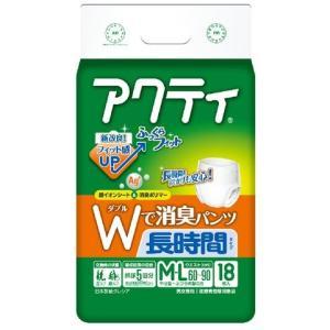 日本製紙クレシア アクティ パンツ式 Wで消臭長時間 M-Lサイズ 5回吸収 18枚入 (介護用おむつパンツタイプ Mサイズ) atlife