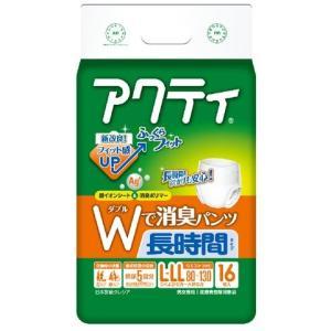 日本製紙クレシア アクティ パンツ式 Wで消臭長時間 L-LLサイズ 5回吸収 16枚入(4901750802776) atlife