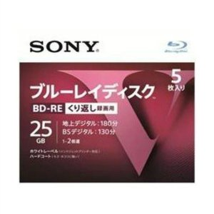 ソニー(SONY) ブルーレイディスク RE2倍速1層 Vシリーズ 5BNE1VLPS2 5枚入 (4548736037021)|atlife