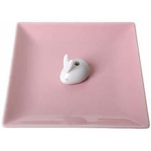 日本香堂 陶器香皿&ウサギ香立 ピンク|atlife