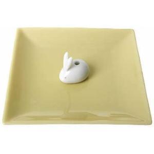 日本香堂 陶器香皿&ウサギ香立 イエロー|atlife