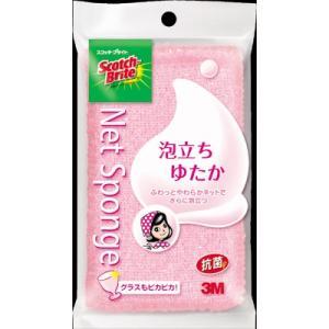 3M スコッチ・ブライト 泡立ちゆたか抗菌ネットスポンジたわし ピンク(4547452956548)