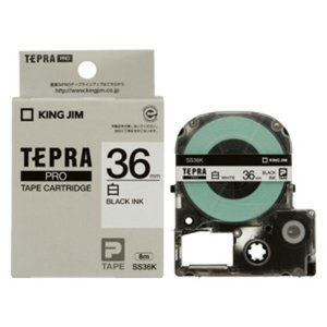 キングジム テプラ プロ テープカートリッジ 白ラベル 36mm 黒文字 SS36K 1コ入  1個|atlife
