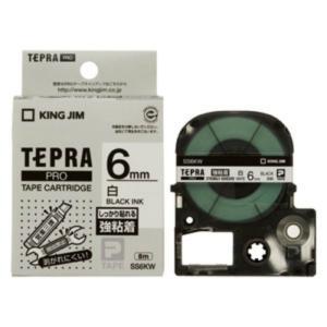 キングジム テプラ・プロ テープカートリッジ 強粘着ラベル 6mm 白 黒文字 SS6KW 1コ入  1個|atlife