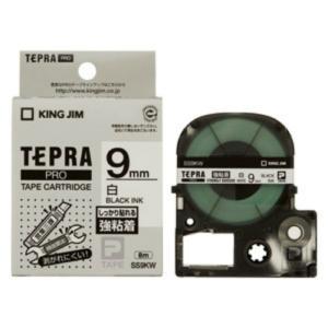 キングジム テプラ・プロ テープカートリッジ 強粘着ラベル 9mm 白 黒文字 SS9KW 1コ入  1個|atlife