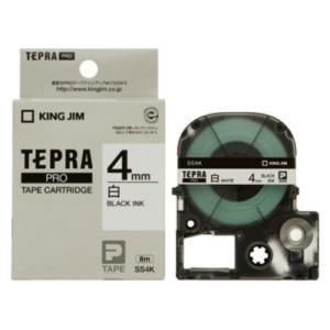 キングジム テプラ・プロ テープカートリッジ 白ラベル 4mm 黒文字 SS4K 1コ入  1個|atlife